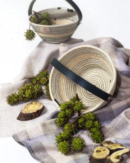 cestería con asa de cuero cuerda algodón