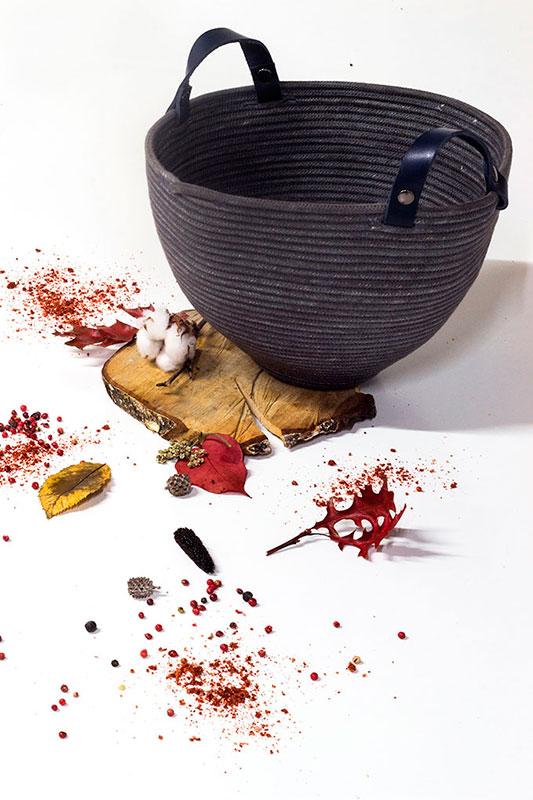 cesto artesanía con cuerda de algodón