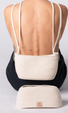 bolso charlotte dos piezas color blanco en cuerda algodón
