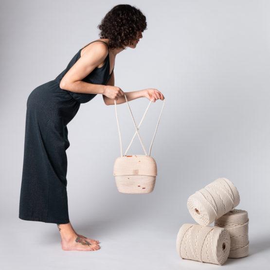 bolso charlotte dos piezas color marrón y canela en cuerda algodón