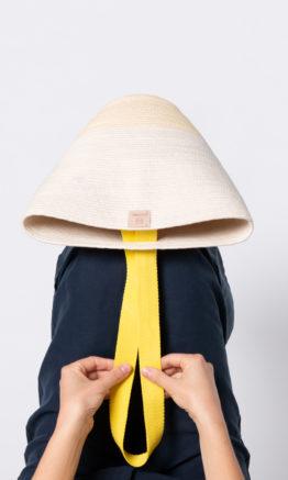 cesto Maruja en cuerda de algodón con cinta color amarillo